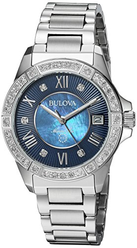 Bulova Women's Quartz Stainless Steel Casual Watch, Color:Silver-Toned (Model: 96R215) (Star Bulova Collection Marine)