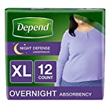 Depend Night Defense Incontinence Overnight Underwear for Women, XL
