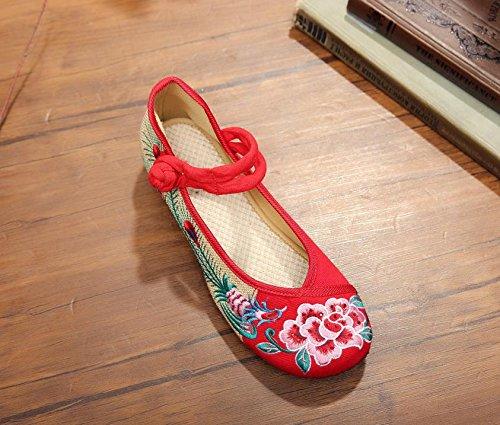 ZLL Pfingstrose Blume bestickte Schuhe, Leinen, Sehnensohle, ethnischer Stil, weibliche Schuhe, Mode, bequem , black , 36