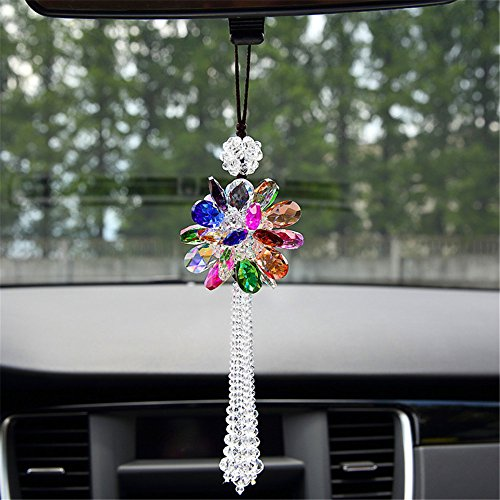 Crystal Decorations Angela_max Women's Car Interior Rearview Mirror Hanging Ornaments Lucky Shinning Crystal Peony Charm Pendant Hangings