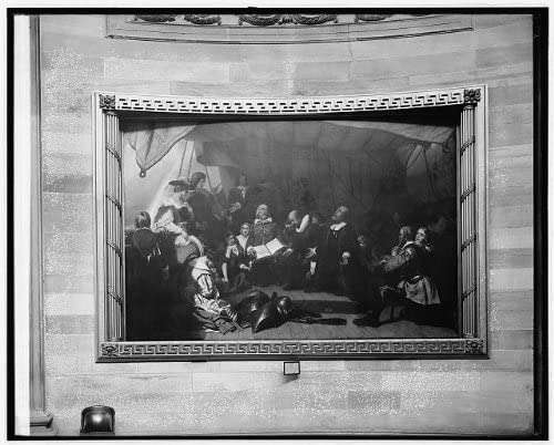 HistoricalFindings Photo Embarkation of Pilgrims at Delft-Haven Painting in Capitol,Washington,D.C.