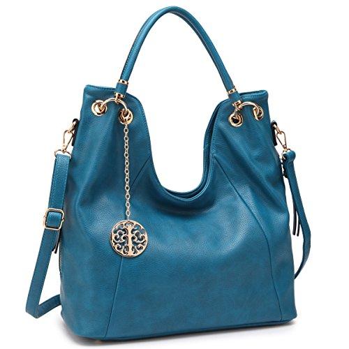 Hobo Accented Large - Womens Extra Large Fashion Shoulder Bag Top Handle Handbag Hobo Tote Satchel Purse (7470-Blue)