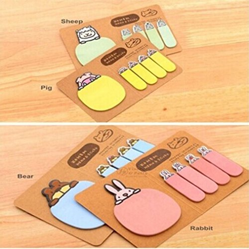 Stationery Memo Pad (Euone Cute Animal Kraft Paper Mini Sticky 4 Styles Notes Memo Pad Gift Stationery)