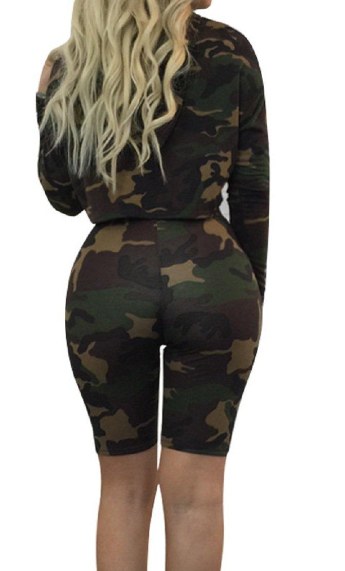 Sorrica Women's Sexy 2 Piece Jumpsuit Sportswear Camo Hoody Pants Set Tracksuit (L, Camo) by Sorrica (Image #3)