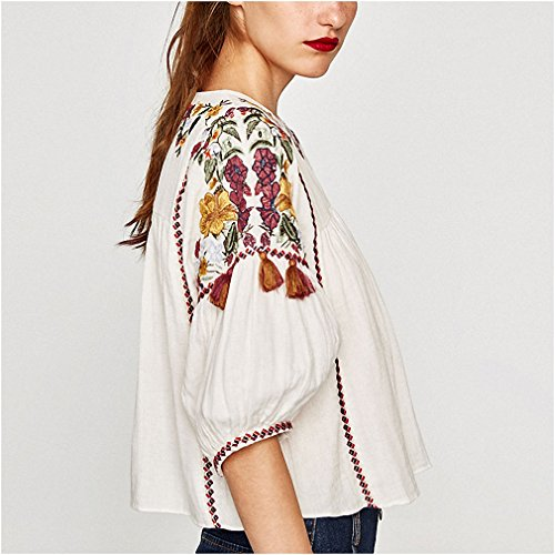 NEW Women Vintage Floral Embroidery Shirts Half Sleeve O Neck White Blouse Female Casual Streetwear Top Blusas Camisas Feminina at Amazon Womens Clothing ...