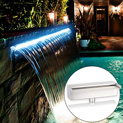 "YUDA 24"" LED Pool Fountain With 7 Color Changing, Stainless Steel Waterfall Spillway For Sheer Descent Garden Ourdoor"