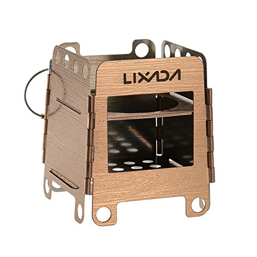 Cheap Lixada Camping Stove, Portable Stainless Steel Lightweight Folding Wood Stove Pocket Stove Outdoor Camping Cooking Picnic Backpacking Stove