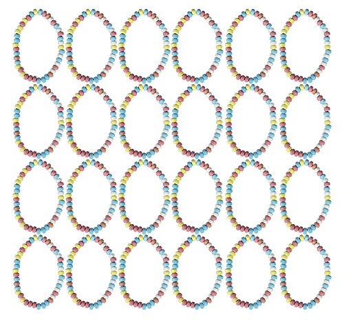 Set of 24 - .7oz Smarties Candy - Candy Stretchable Necklaces