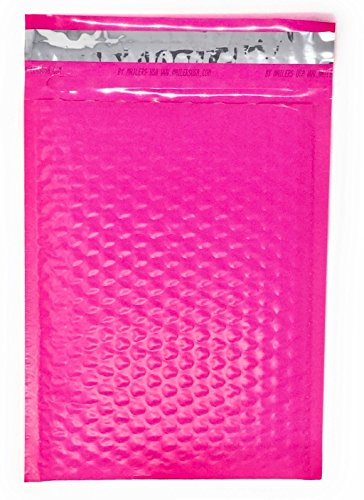 6x10 Inch Poly Bubble Mailer - Eco Friendly Lightweight Self Seal Padded Shipping Envelopes With Easy Open Pull Tab Made In The USA 100% Recyclable By Azamon Inc. (Pack of 25, Hot Pink)