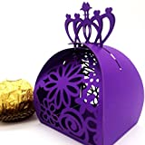 WOMHOPE® 50 Pcs - Crown Lock Flower Style Hollow Laser Cut Roses Flowers Wedding Candy Box Chocolate Candy Holders Party Favors for Bridal Shower,Wedding,Party,Birthday Gift (Dark Purple)