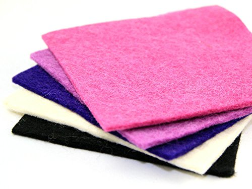 Handmade Felt 15 cm Squares made of 100% Nepal Wool: Assorted Colours (Pink/Purple)