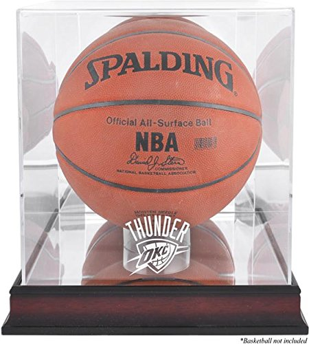 (NBA Logo Basketball Display Case NBA Team: Oklahoma City Thunder, Base Type: Mahogany)