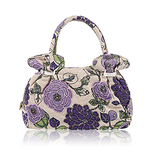 Handbag Printing Bag Handbag Flower Flower Big Vintage Tote 2018 Bag Clutch Embroidery Spring Purple aHvxPq6