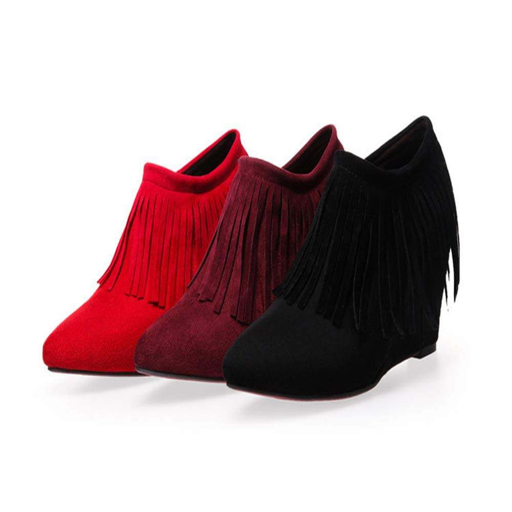 CITW Herbst Damenstiefel Keil Tassel Große Große Große Größe Nackte Stiefel Wildleder Einzel Stiefel High Heel Und Nackte Stiefel,Wischwarzt,UK4 EUR38 66927b
