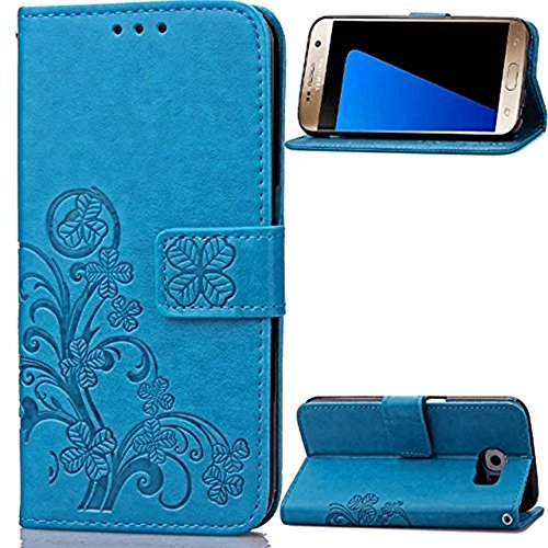 Price comparison product image Galaxy S7 Edge 3D Beauty Case, Inspirationc Fashion Butterfly Lucky Flowers PU Leather Credit Card ID Stand Holders Wallet Cover for Samsung Galaxy S7 Edge--Blue