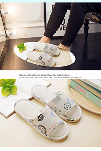 Niceful and Open Linen and Home Flax Unisex Skidproof Printed Sandals Cotton Slipper Autumn Indoor Winter Tower Slipper Slipper Toe rRr8x4p7n