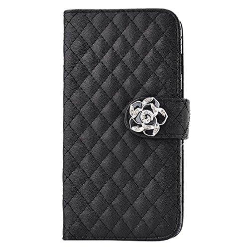 Cubierta de caja - TOOGOO(R) 3 en 1 conjunto de accesorios de multiples funciones de cuero sintetico caso protector de tiron de ranura de tarjeta de color negro para Smartphone Samsung S6 Edge