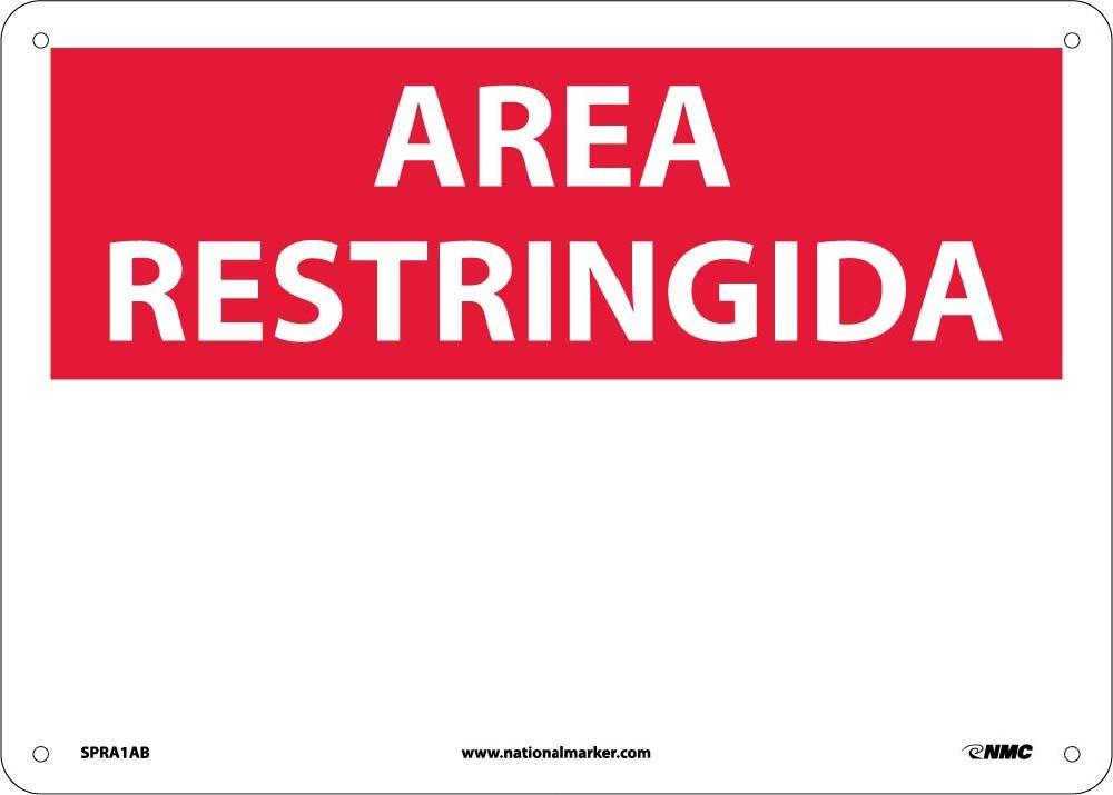 National Marker Corp. SPRA1AB Area Restringida, Blank, Sign, 10 Inch X 14 Inch, 0.040 Alum