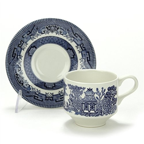 Blue Willow by Churchill, Stoneware Cup & Saucer ()