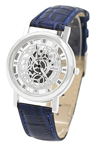 TOOGOO(R) (Blue Strap & Silver Dial) Men's Faux Leather Band Wrist Skeleton Watch