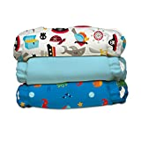 Charlie Banana 3 Diapers 6 Inserts Hybrid AIO Grab Pack, Oceana, One Size