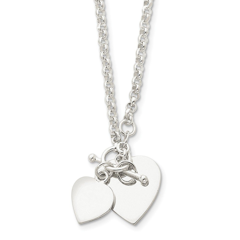 79202a27d Amazon.com: Sterling Silver Double Heart Toggle Necklace: Jewelry