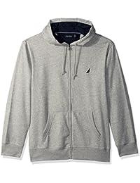 Men's Chest Logo Zip Front Long Sleeve Hoodie