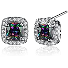 Royal Mix Color Cubic Zircon Stud Earring Mother Birthday Christmas Gift Present