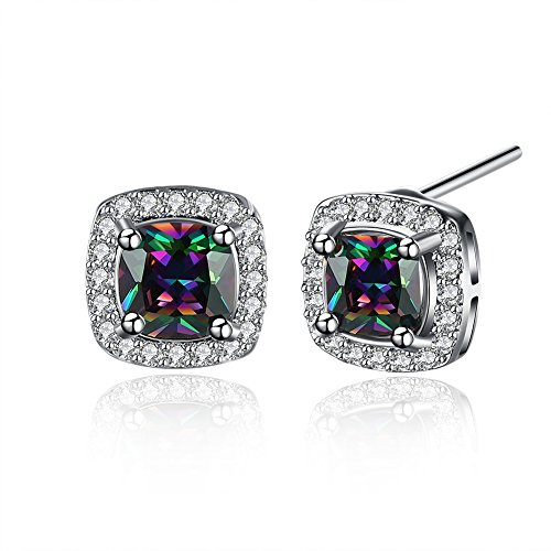 Stud Pouch - BuycitKy Colorful Cubic Zirconia Stud Earrings for Women Girls Small Square Post Earrings, with PU Jewelry Pouch
