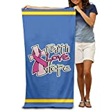 Huishe1 Faith Love Hope Breast Cancer Awareness Adults Cotton Beach Towel 31'' X 51''