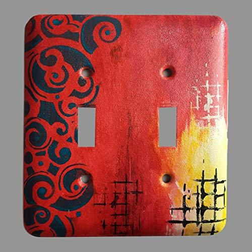 (Double Toggle light Switch Wall Plate cover Unbreakable Painted Faceplates Cover Standard Size - Replacement Receptacle)