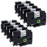 Label KINGDOM 10 Pack Compatible Brother P-Touch TZ231 TZe231 TZ TZe Label Tapes for PT-D210 PT-H100 PTD400AD PT-P700 PTD600 Label Maker, Black on White, 0.47 Inch (12mm) x 8m (26.2 Feet)