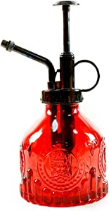 Hniuyun Glass Plant Mister Spray Bottle, 6.4 All Vintage Plant Spritzer Watering Can, Bronze Plastic Top Pump, Plant Mister Glass Watering Garden Tool (Red)