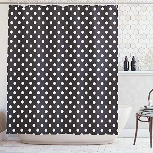 Ambesonne Dots Shower Curtain, Classical Pattern of White Polka Dots on Black Traditional Vintage Design, Cloth Fabric Bathroom Decor Set with Hooks, 70 Inches, Charcoal White
