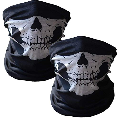 2-Pack Skull Face Masks, Seamless Multi Function Warmer Black for Outdoor and Halloween Party Costume