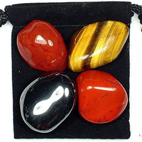 The Magic Is In You Male Fertility Help Tumbled Crystal Healing Set with Pouch & Description Card - Carnelian, Hematite, Jasper, and Tiger's Eye