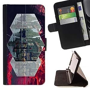 For HTC One A9 Case , gorod ulica lyudi linii- la tarjeta de Crédito Slots PU Funda de cuero Monedero caso cubierta de piel