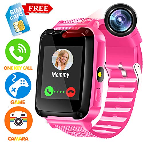 Kids Smart Watch Phone - [Speedtalk SIM Included] Kids Smartwatch for Girls Boys with HD Touch Screen SOS Cell Phone Camera Game Alarm Clock Digital Wrist Watch Learning Toy Birthday School Gifts