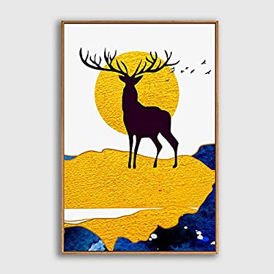 Nordic Deer In front Of Moon - Framed Canvas