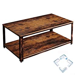 Farmhouse Coffee Tables Rolanstar Coffee Table, Rustic Coffee Table with Storage Shelf for Living Room, Wood Look Accent Furniture with Stable… farmhouse coffee tables