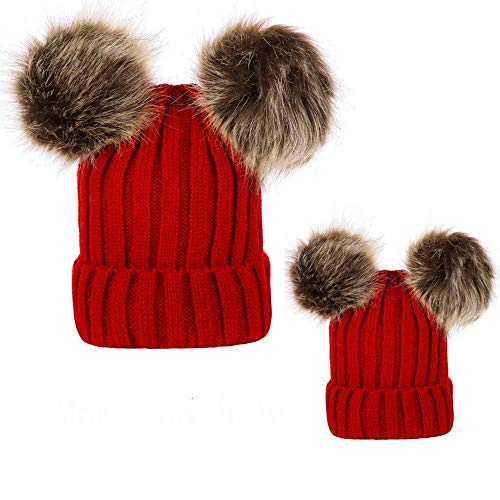 (Mommy & Me Mother Child Winter Warm Soft Knit Beanie Wool Hemming Hat with Pom Pom Outdoor Wear for Boys Girls)