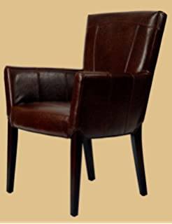 Safavieh Hudson Collection Greenwich Bicast Leather Arm Chairs Brown