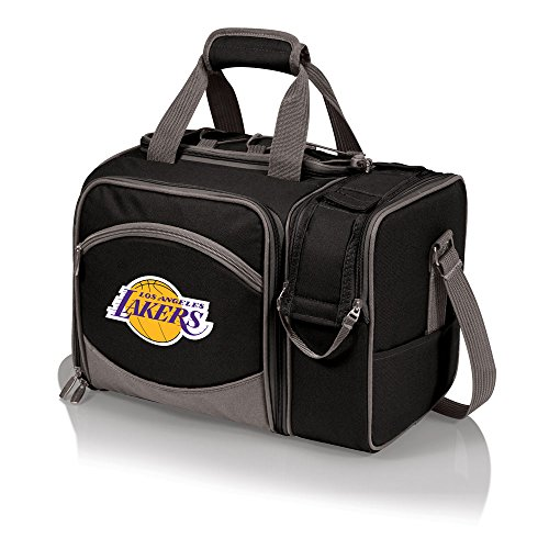 NBA Los Angeles Lakers Malibu Insulated Shoulder Pack with Deluxe Picnic Service for Two (Los Angeles Gift Basket)