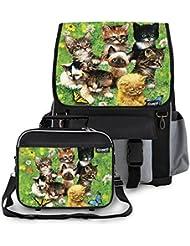 Kidaroo Cute Little Kittens School Backpack & Lunchbox for Girls, Boys, Kids