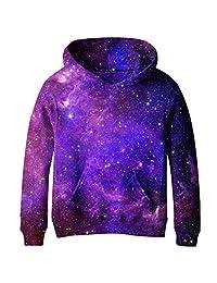SAYM Teen Boys' Galaxy Fleece Sweatshirts Pocket Pullover Hoodies 4-14Y