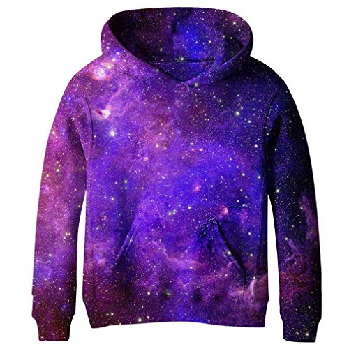 SAYM Teen Boys' Galaxy Fleece Sweatshirts Pocket Pullover Hoodies 4-16Y NO17 M