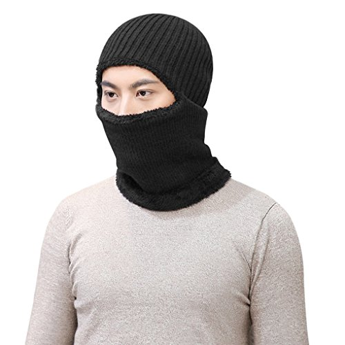 Men Women Winter Adjustable Knitted Balaclavas Headwear Thermal Plush Lining Riding Cycling Hunting Hiking Motorcycle Biker Helmet Liner Full Face Mask Beanie Hat Neck Warmer