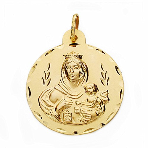 Médaille pendentif or 18k Virgen del Carmen 28mm. sculpté sculptée [AA2527GR] - personnalisable - ENREGISTREMENT inclus dans le prix
