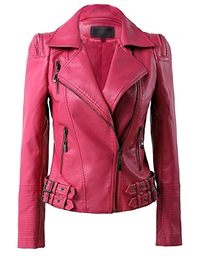 Womens Faux Leather Zip Up Moto Biker Jacket With Many Details(M, Hot pink)