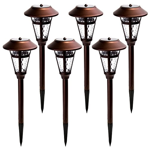 GIGALUMI Solar Pathway Lights Outdoor, 6 Pack Super Bright High Lumen Solar Powered LED Garden Lights for Lawn, Patio, ()